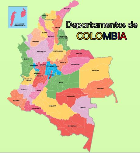 Mapa de Colombiadepartamentos y capitales 2018 para dibujar