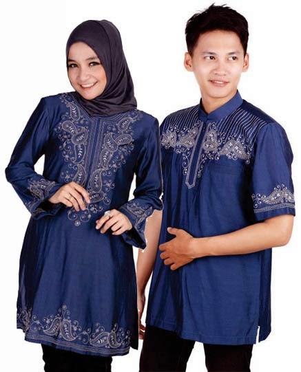 Baju Muslim Couple Warna Biru Modern