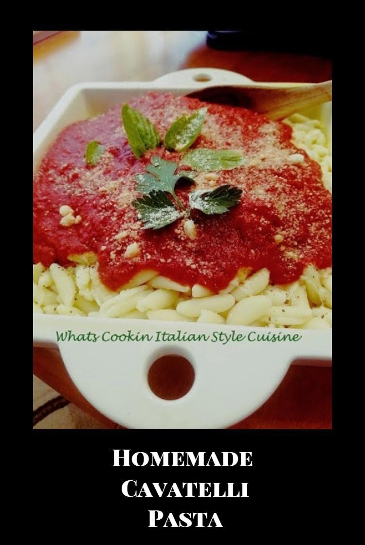 homemade Italian cavatelli pasta made with flour, ricotta cheese hand rolled