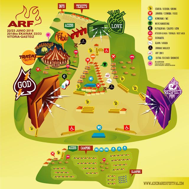 azkena, rock, festival, 2018, guía, llegar, comer, camping, entradas, vitoria, horarios, cartel, mapa, recinto, joan jett, van morrison, turbonegro, mc50