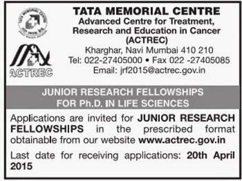 Naukri-Job-Employment: JUNIOR RESEARCH FELLOWSHIPS FOR Ph D  IN LIFE