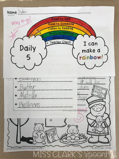 daily five check in sheet