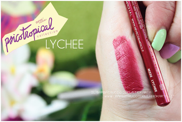 biopastello labbra lippencil LYCHEE SWATCHES psicotropical collection neve cosmetics nuova formula