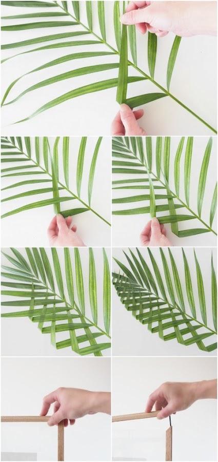 proceso para hacer un cuadro con una hoja de palmito trenzada
