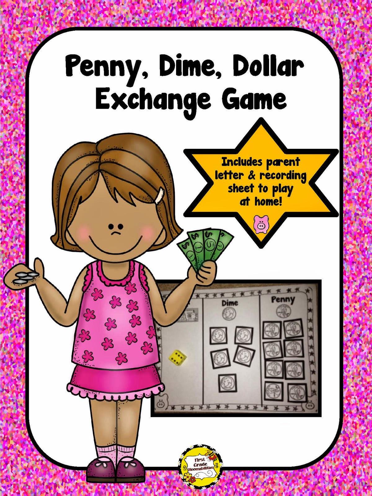 http://www.teacherspayteachers.com/Product/Penny-Dime-Dollar-Money-Exchange-Game-1647799