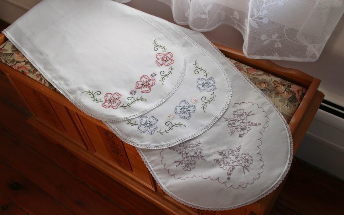 Lilacs And Springtime Hand Embroidered Dresser Scarves