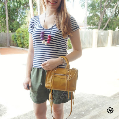 awayfromblue instagram stripe tee olive floral shorts mustard yellow micro regan bag
