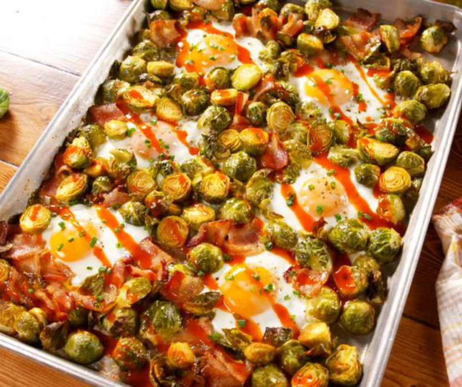 Sheet Pan Brussels Sprouts Bacon Egg Hash - food-drink-recipes.com