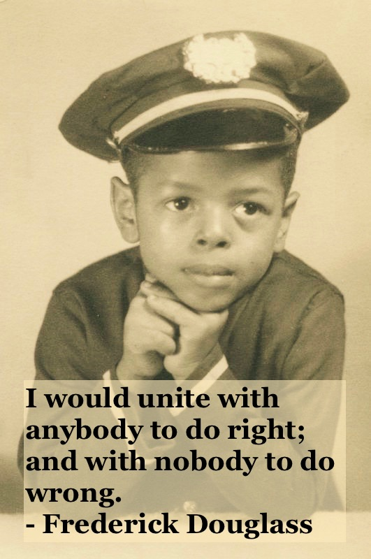 Portrait photo of two black child in uniform c 1950s Right and wrong quote by Fredrick Douglass. Other stories of Racism and Civil Rights. Well said, Mr. Douglass. marchmatron.com