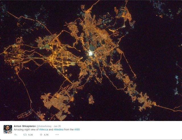 Makkah dan Madinah Adalah Tempat Paling Bercahaya, Ini Penampakannya Dari Luar Angkasa