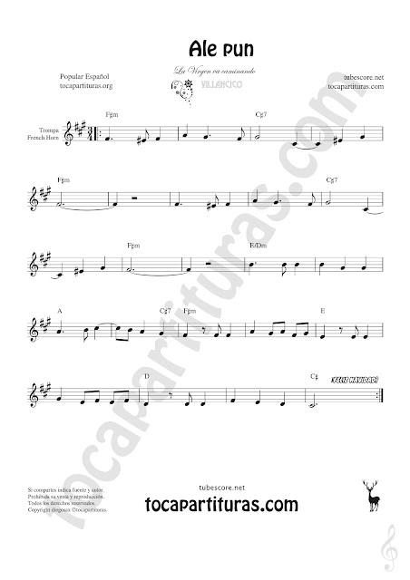 Trompa y Corno Francés Partitura de Ale Pun en Mi bemol Sheet Music for French Horn Music Scores