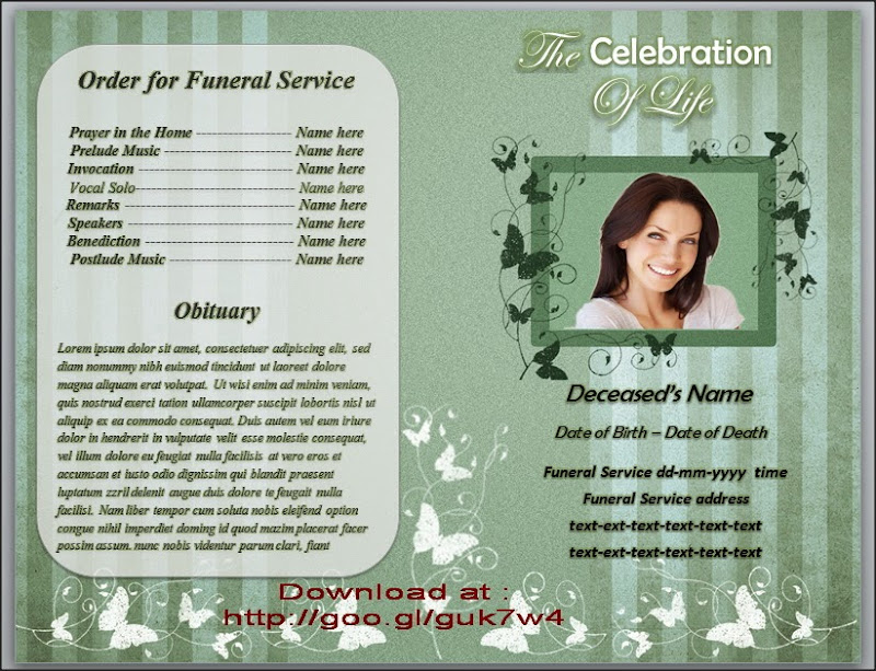 Butterfly Funeral Order of Service Program Template For Microsoft – Funeral Service Program Template Word