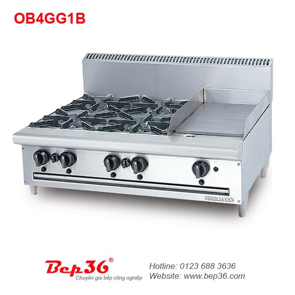 Bếp âu 4 họng kết hợp vỉ nướng Berjaya OB4GG1B
