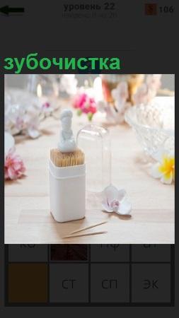 На столе стоит футляр с набором палочек зубочистка и другие приборы