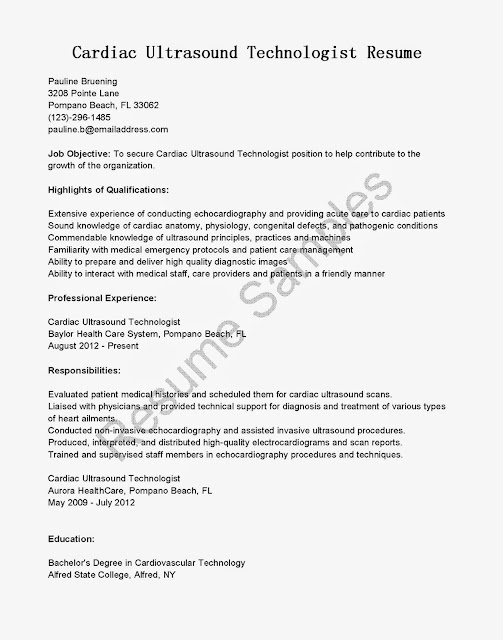 Sample Resume: Resume Samples: Cardiac Ultrasound Technologist Resume ...