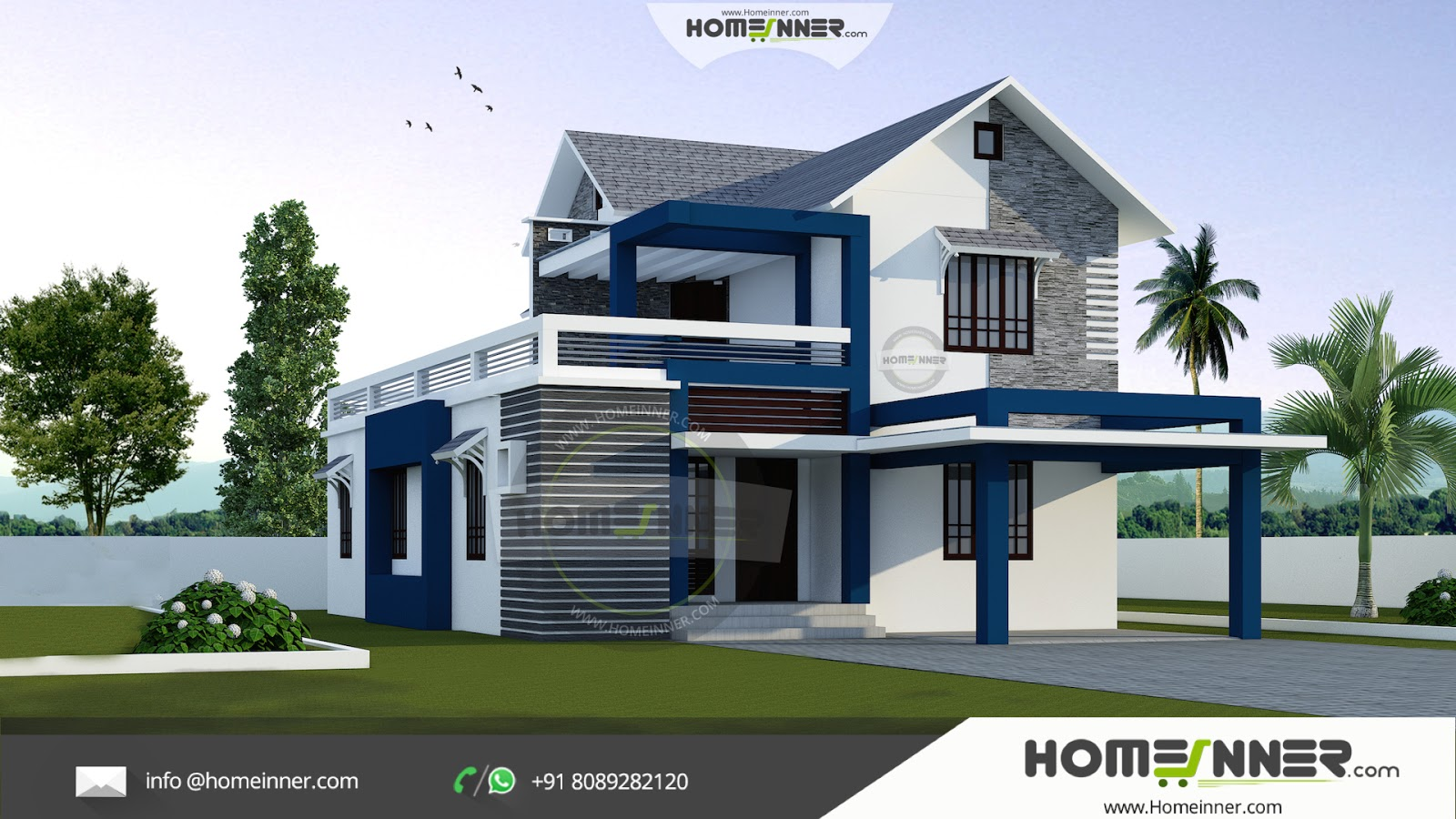 Modern stylish 3 bhk small budget 1500 sqft indian home for Modern home design in india