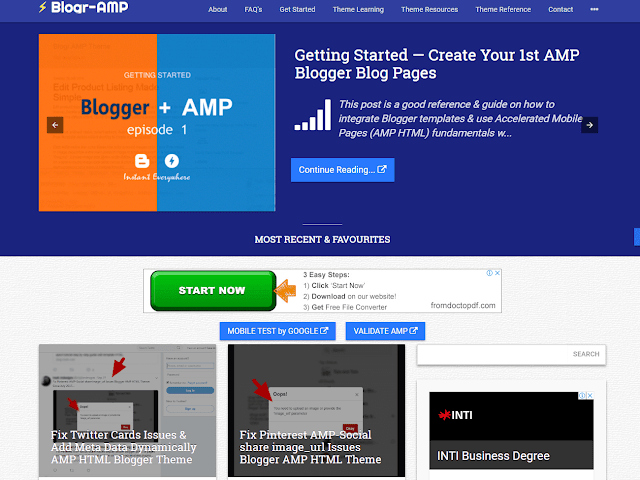 Free Blogger AMP HTML Theme for Download