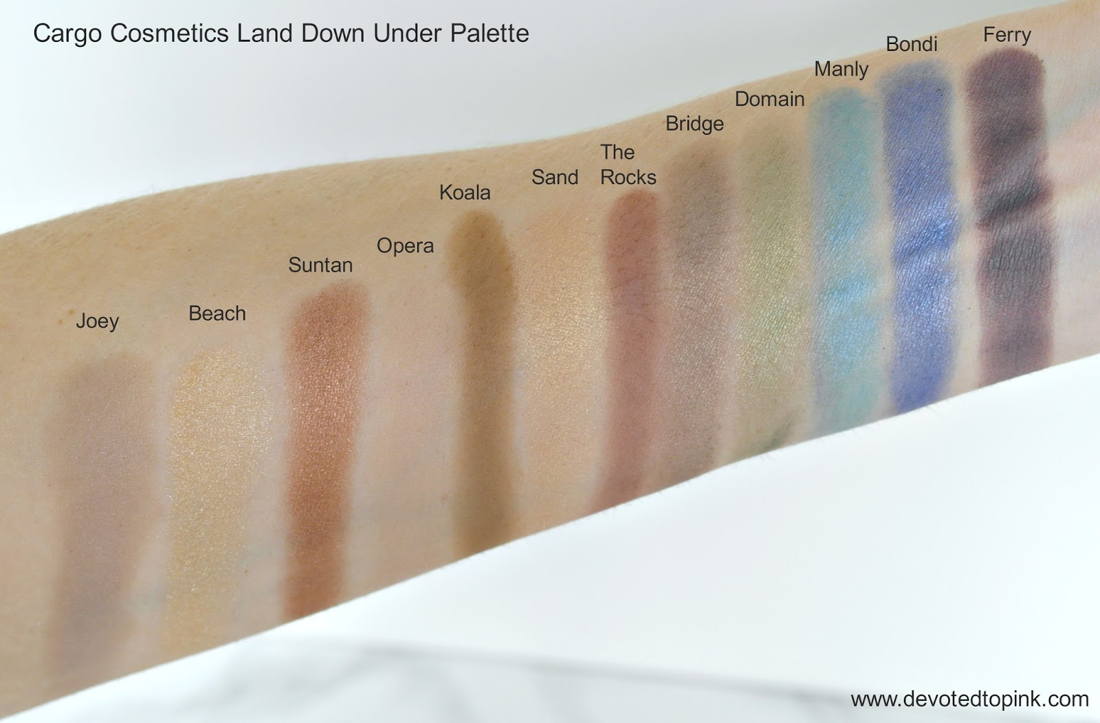 Cargo Cosmetics land down under palette, swatches, review