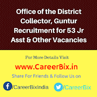 Office of the District Collector, Guntur Recruitment for 53 Jr Asst, Accountant, Typist, Lab Technician, PH Worker Vacancies