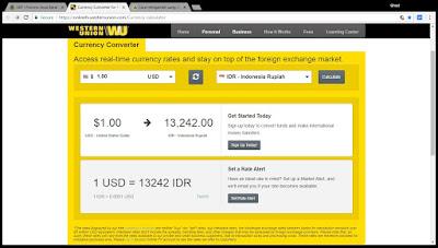 Kurs yang berlaku dari Western Union