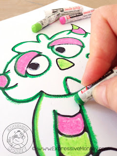 Contrasting Colored Monster - Use monsters and this watercolor & alcohol technique to teach about contrasting colors.  Color Complements - Color Art Lesson Idea - Painted Monster Lesson