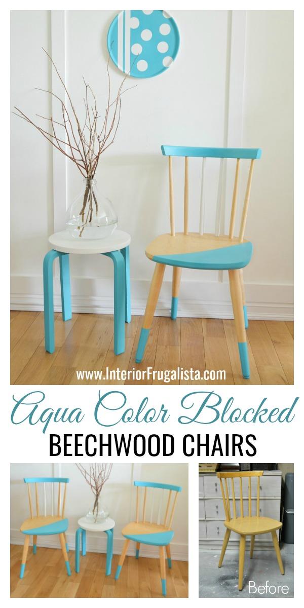 Pretty Aqua Beechwood Color Block Chairs