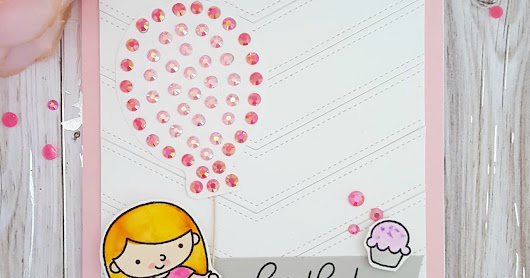 Birthday Wishes with die cut background featuring Pretty Pink Posh