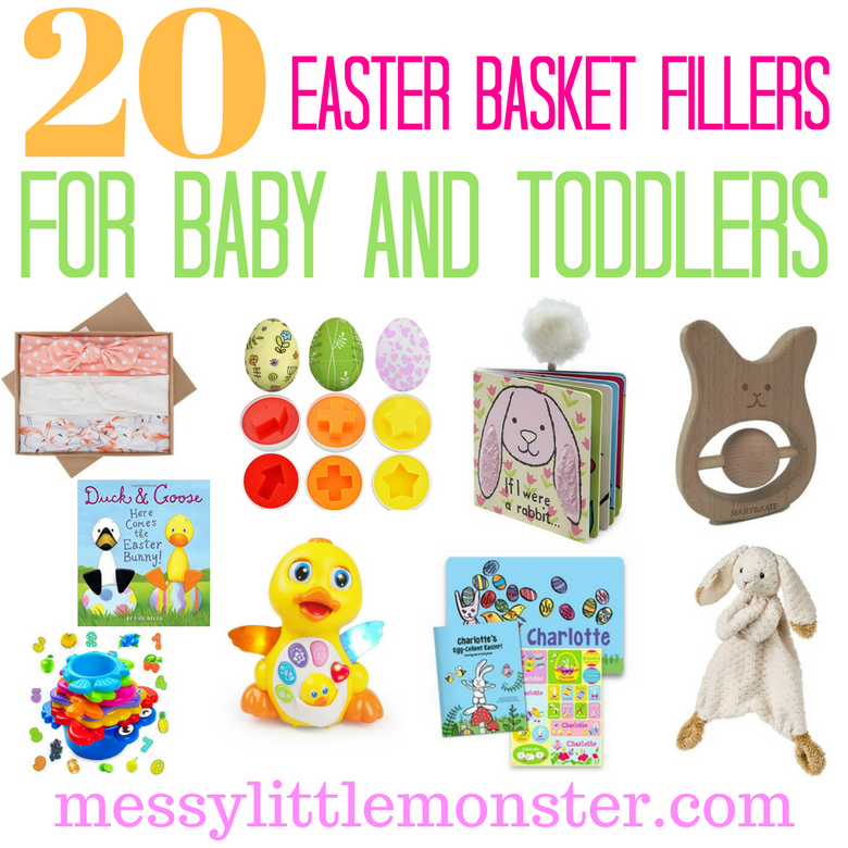 Easter basket filler ideas for baby and toddlers. 20 non-candy Easter fillers that kids will love.