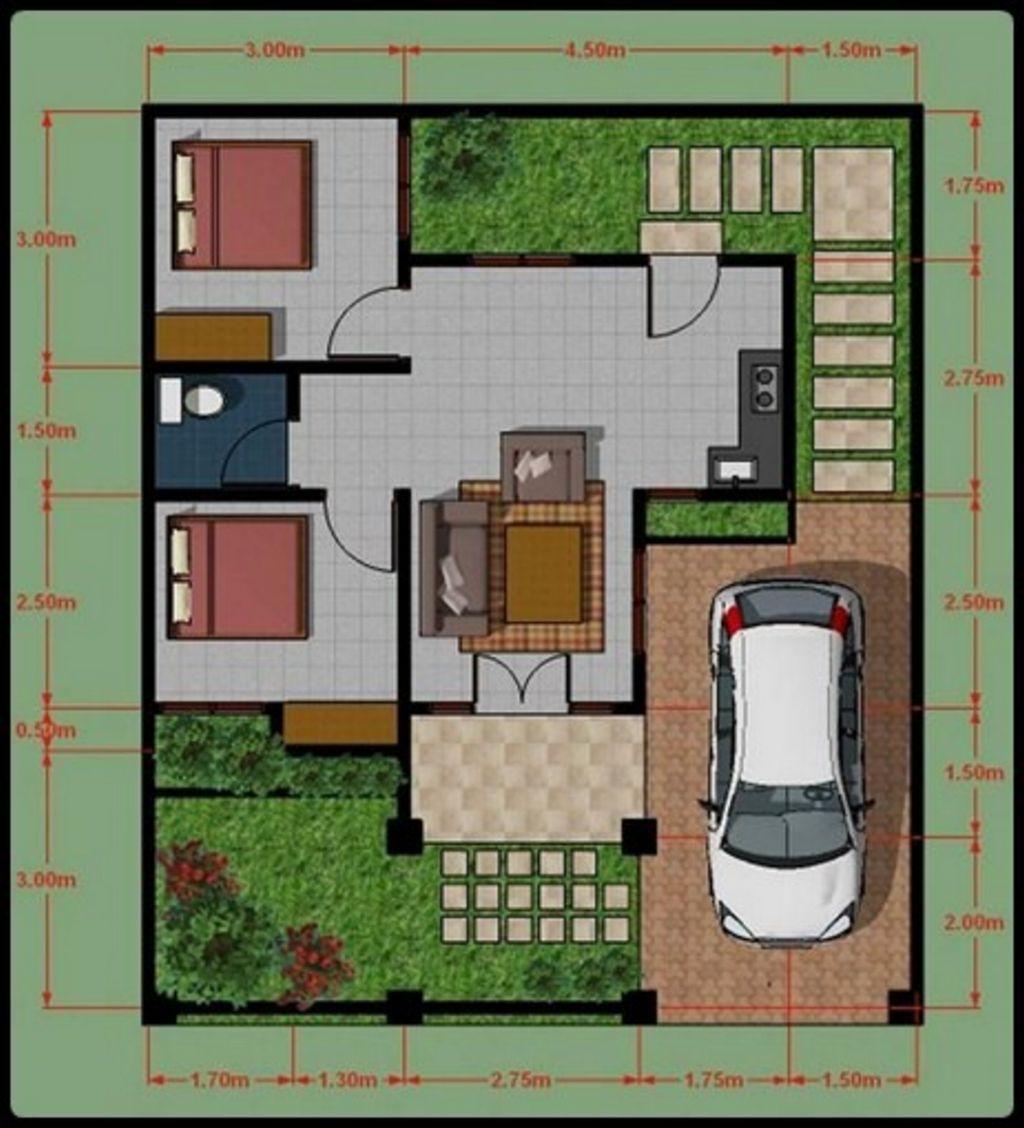 model denah rumah idaman tipe 45 terbaru