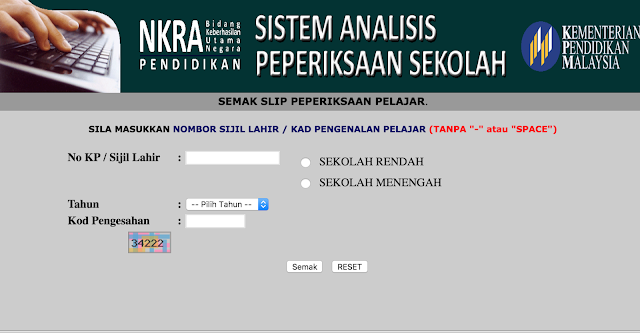 sistem analisis peperiksaan sekolah SAPS