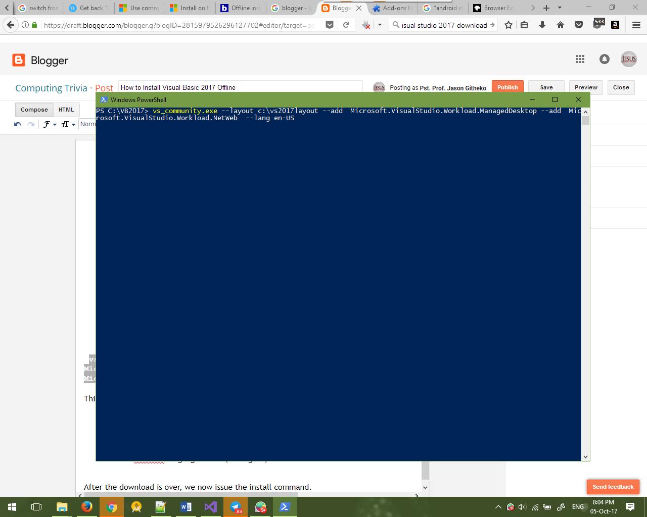 vs_community.exe offline install
