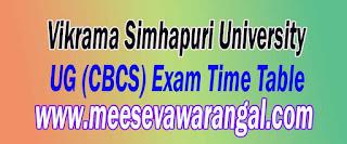 Vikrama Simhapuri University UG (CBCS) 2nd Sem April 2016 Exam Time Table