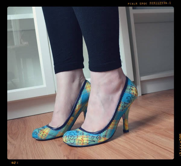 wearing Irregular Choice tartan court shoes with floral embroidery