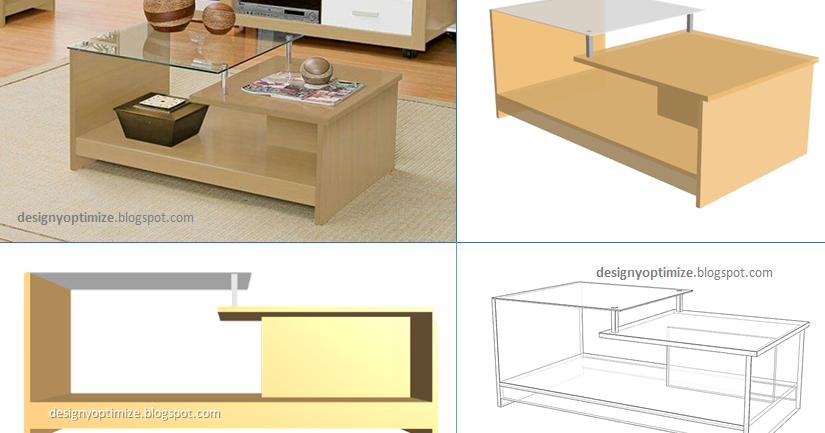 Diseño De Muebles Madera Mesa de Centro Con Vidrio  Planos y