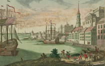 View of Boston Harbor, 1770, by Franz Habermann