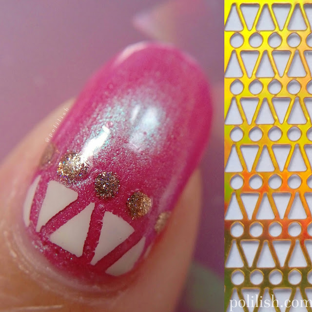 Pink geometric nail art using stencils by Born Pretty Store
