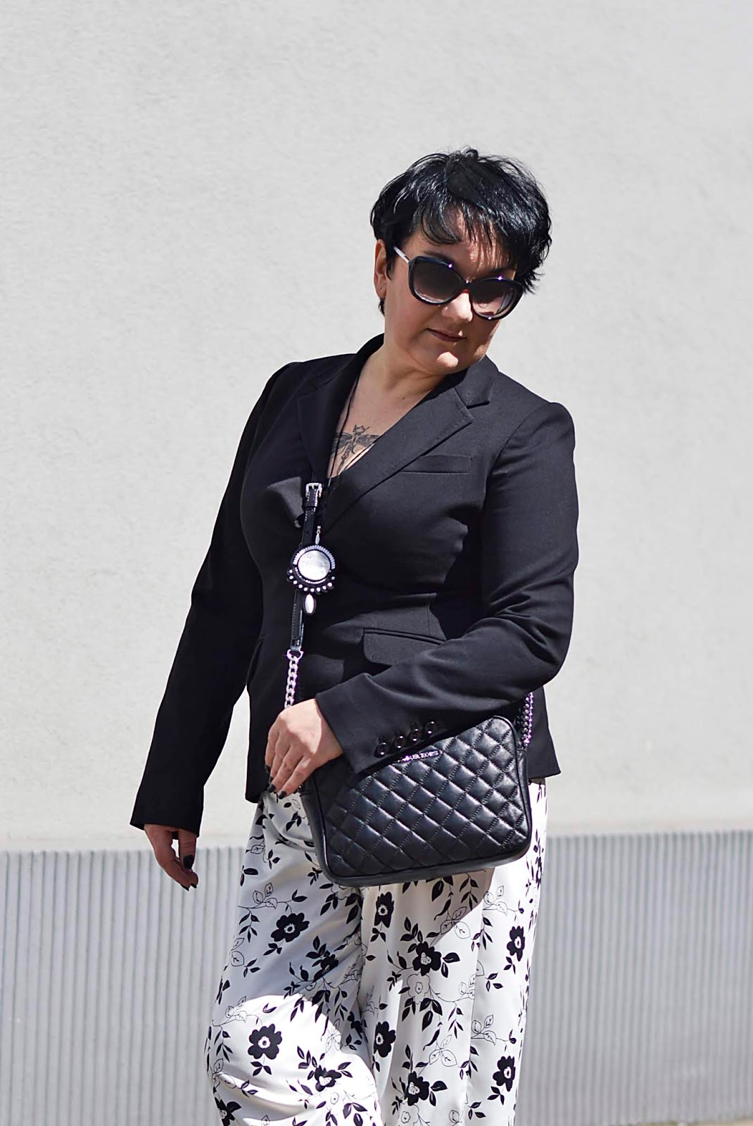 H&M back jacket, pajamas pants, black and white fashion