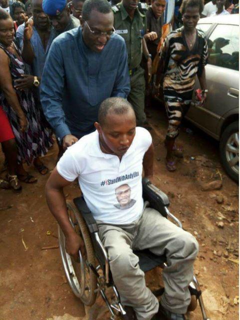 Andy Uba pushed crippled man