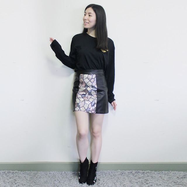 traffic people blog review, traffic people review, sequin mini skirt outfit, sequin leather jacket, sequin skirt outfit, trafficpeople clothing, traffic people review, traffic people jacket