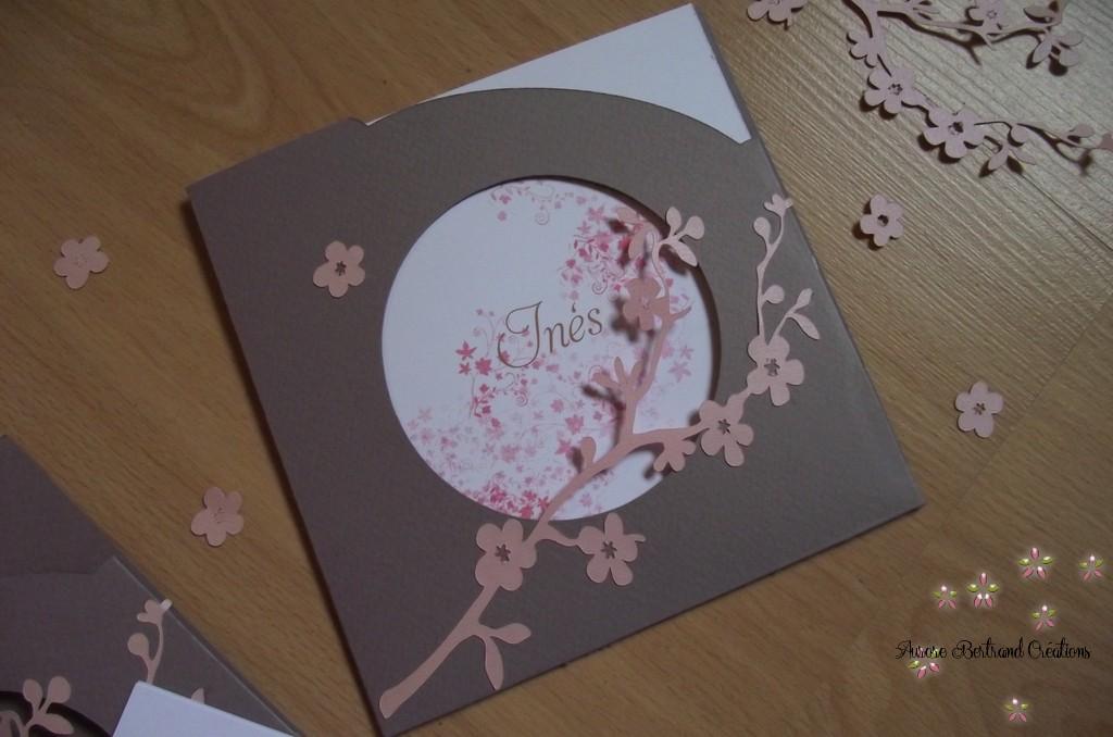 """Top zeste d'amour: Faire part naissance """"Fleurs de cerisier"""" ZN36"""