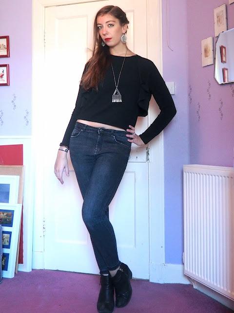 Back to Black   outfit of black shrug jacket & short top, grey skinny jeans & black heeled ankle boots
