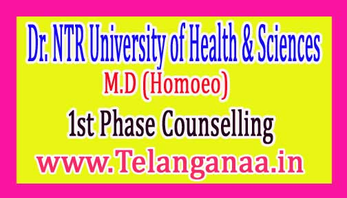 Dr. NTRUHS MD (Homoeo) 1st Phase Counselling Dates 2016-17