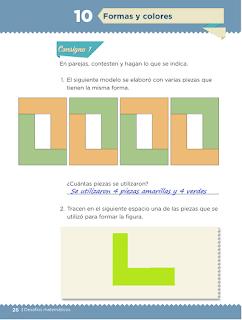 Lección 10 Formas y colores Matematicas primer grado contestada