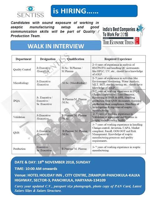SENTISS Pharma Pvt. Ltd. Walk-In For Multiple Positions  at 18 November