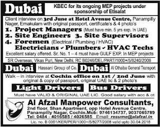 KBEC MEP project jobs in Dubai
