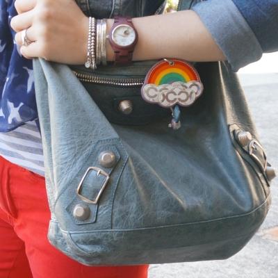 Balenciaga 2009 tempete storm blue day bag hobo coach rainbow charm | AwayFromTheBlue