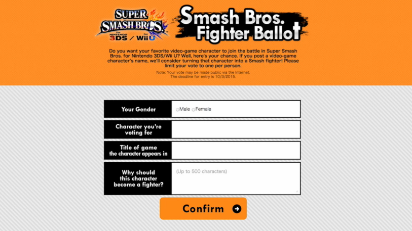 Smash Bros. Fighter Ballot screenshot page