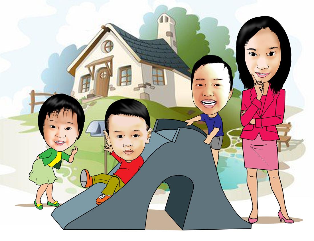 PESAN KARIKATUR MURAH Karikatur Bu Guru Dan Anak Anak