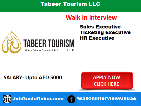 job in dubai for ticketing executive, HR executive and sales executive