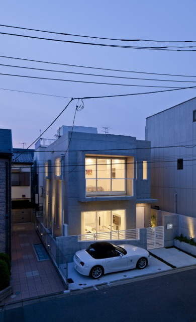 Modern home in Japan as seen at sunset